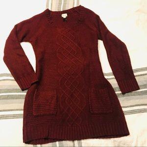 Sweaters - Burgundy Long Sweater/ Sweater dress Size S